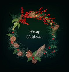 wreath made of bunches of rowan berries branches vector image