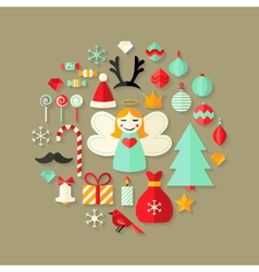 Christmas Flat Icons Cute Set Over Light Brown vector image vector image