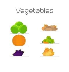 Foods market vegetables flat icons set vector image vector image