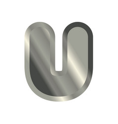 letter u steel font metal alphabet sign iron abc vector image vector image