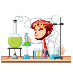 mad scientist mixes chemical in lab vector image vector image