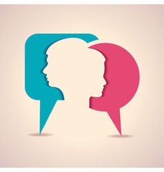 male and female face with message bubble vector image