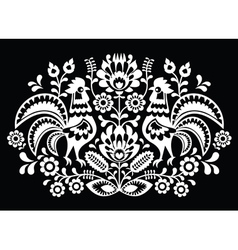 Polish folk art pattern roosters on black vector image vector image