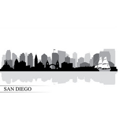 san diego city skyline silhouette background vector image