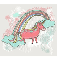 cute unicorn background vector image vector image