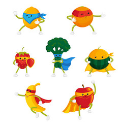 funny fruit and berry hero superhero characters vector image