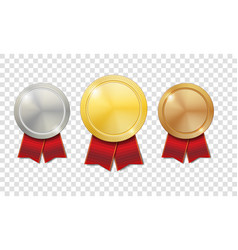 gold silver and bronze shiny medals with red vector image