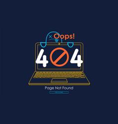 404 error with icon line notebook error vector image