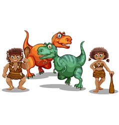 Dinosaurs and cave people vector image
