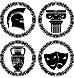 hellenic buttons stencil second variant vector image