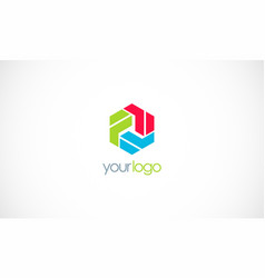 polygon colorful shape logo vector image
