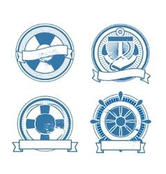 Retro sea stamps set vector image vector image