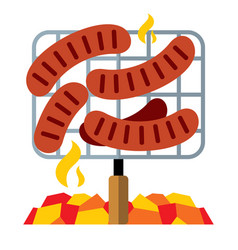 sausages on the grill flat style colorful vector image vector image