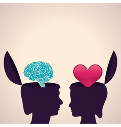Thinking concept-Human head with brain and heart vector image