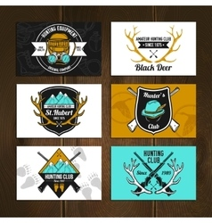 Colorful hunting cards set vector image