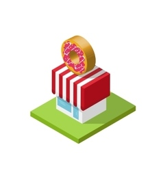 Isometric store donuts shop vector image vector image