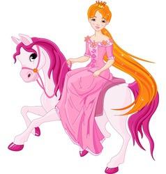 princess riding horse vector image vector image