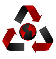 Abstract pollution threat recycle logo and globe vector