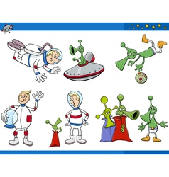 Aliens and astronaut cartoon set vector
