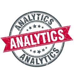 Analytics round grunge ribbon stamp vector