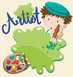 Artist holding paintbrush with paints vector image