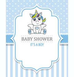 Baby shower boy cute unicorn vector