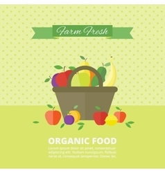 Banner card with fresh fruits and berries vector