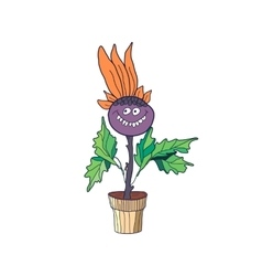 Blossom flower character in pot Happy flower vector