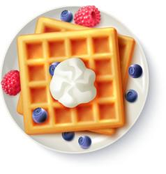 Breakfast Waffles Realistic Top View Image vector