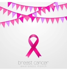Breast cancer awareness month Pink flags and vector
