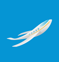Cartoon airplane flying in blue sky vector