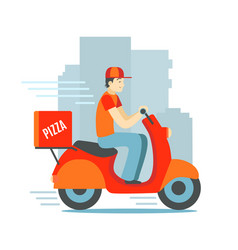 cartoon character person delivery man scooter vector image