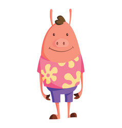 cartoon pig in youth clothes with floral pattern vector image