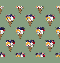 Cat dog chicken ice cream on green tea background vector