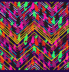 Chevron print with colorful stripes and lines vector
