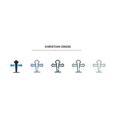Christian cross icon in different style two vector