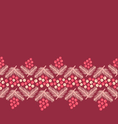 christmas holly berries with pine branch ornate vector image