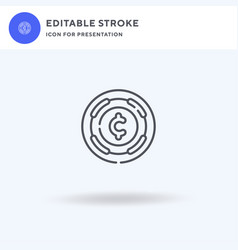 Coins icon filled flat sign solid vector