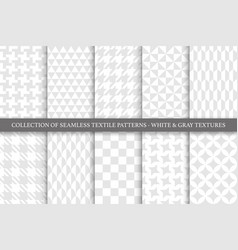 collection white and gray textile seamless vector image