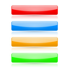 colored buttons 3d glass menu icons vector image