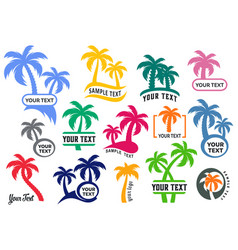 colorful palm tree silhouette logo set vector image