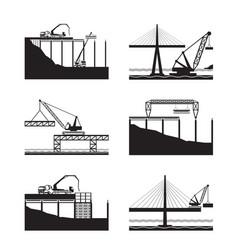 construction different bridges vector image