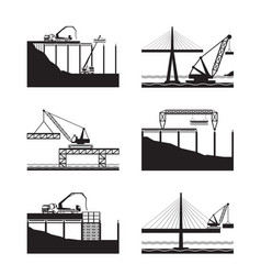 construction of different bridges vector image