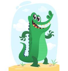 cool funny cartoon crocodile character vector image