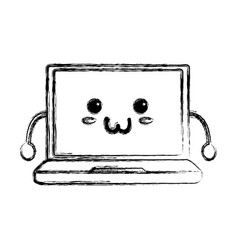 Cute laptop kawaii vector