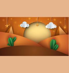 desert landscape cartoon paper illustration vector image