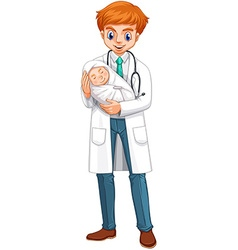 Doctor holding little baby vector