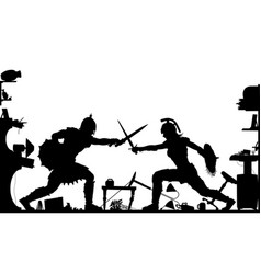Domestic gladiators silhouette vector