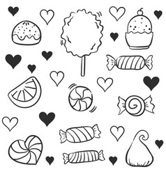 Doodle of candy many various hand draw vector