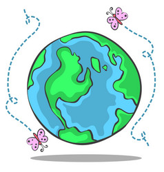 Doodle of green world collection vector